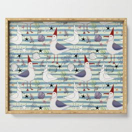 Gulls on a striped background. Serving Tray