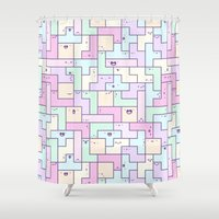 tetris Shower Curtains featuring Kawaii Tetris by KiraKiraDoodles