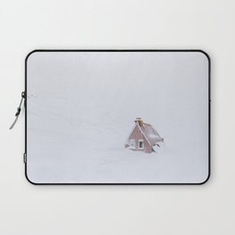 Minimalist orange house in a snowstorm in Iceland - Landscape Photography Laptop Sleeve