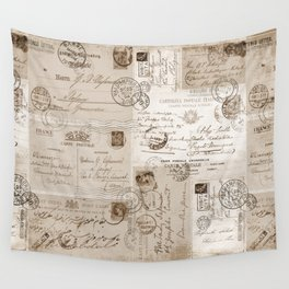 Old Letters Vintage Collage Wall Tapestry