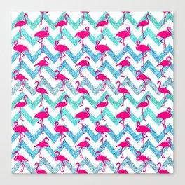 Go Flamingo! Tropical Pink Neon Flamingos Teal Glitter Chevron Canvas Print