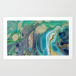 Fluid Abstract - Blue and Purple Art Print