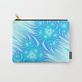 Abstract Christmas aqua blue white pattern. Frozen flowers Carry-All Pouch