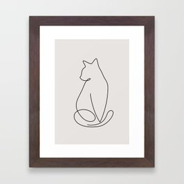 One Line Kitty Framed Art Print