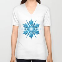 snowflake V-neck T-shirts featuring Snowflake by Salih Gonenli