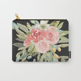 Loose Watercolor Rose Bouquet Dark Background Carry-All Pouch