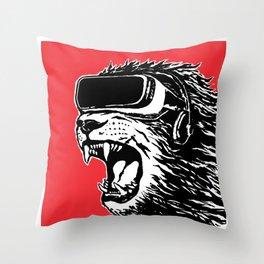 VR Lion Throw Pillow