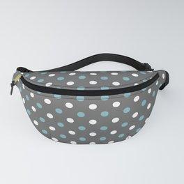 Grey white blue polka dot pattern Fanny Pack