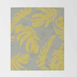 Simply Mod Yellow Palm Leaves on Retro Gray Throw Blanket