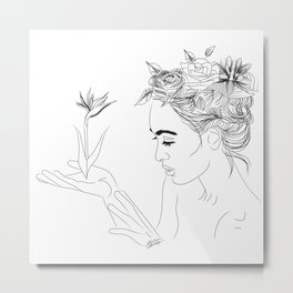 Simple Black and White Ink Drawing of Woman with Flowers in Hair Metal Print