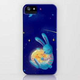 Hug a moon iPhone Case