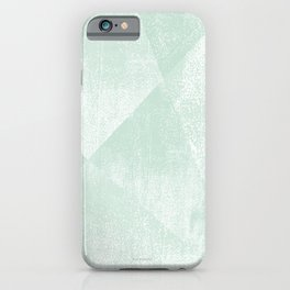 Mint Green and White Geometric Triangles Lino-Textured Print iPhone Case