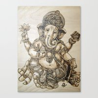 ganesh Canvas Prints featuring Ganesh by artbyolev