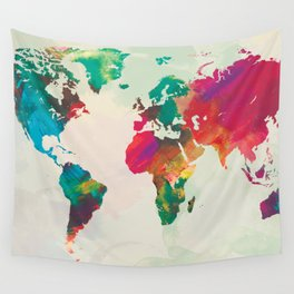 Watercolor World Map Wall Tapestry