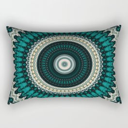 Mandala Fractal in Teal Study 01 Rectangular Pillow
