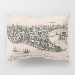 Vintage Pictorial Map of Constantinople (1696) Pillow Sham