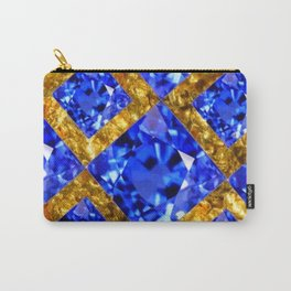 ASYMMETRIC ROYAL BLUE SAPPHIRE GEMSTONES ART ON GOLD Carry-All Pouch