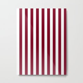 Narrow Vertical Stripes - White and Burgundy Red Metal Print