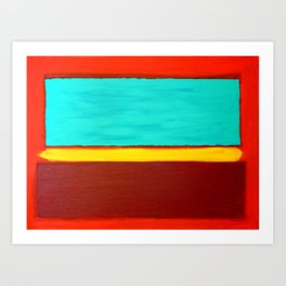 Acrylic Abstract Painting Original Art Teal Purple Red Rothko on Canvas Titled: The Divide Art Print