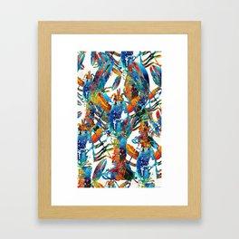 Colorful Lobster Collage Art - Sharon Cummings Framed Art Print