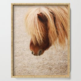 Portrait of cute pony Serving Tray