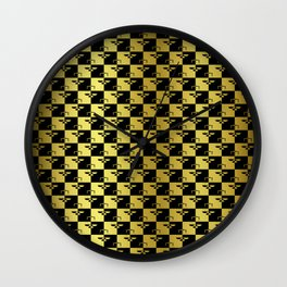 Black and Gold Checkerboard Scales of Justice Legal Pattern Wall Clock