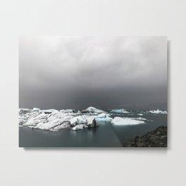 Cloudy Jökulsárlón Metal Print