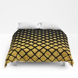 Art Deco Glitter-Gold Diamonds on Black Pattern Comforters