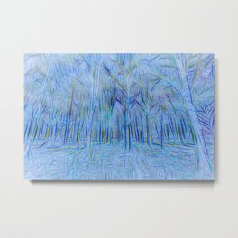 Blue Forest Abstract Art Metal Print