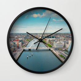Aerial view of Dublin city center Wall Clock