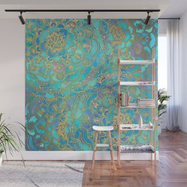 Sapphire & Jade Stained Glass Mandalas Wall Mural