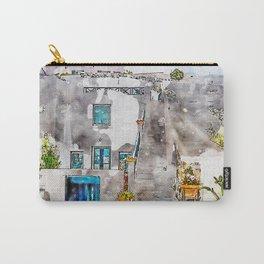 Aquarelle sketch art. Unique Santorini architecture, beautiful buildings Carry-All Pouch