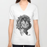red riding hood V-neck T-shirts featuring Riding Hood by FLORA+FAUNA