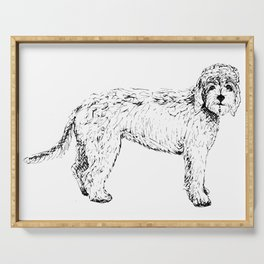 Labradoodle/Goldendoodle Ink Drawing Serving Tray