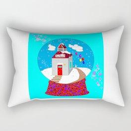 A Winter Wonderland Snow Globe School House Rectangular Pillow