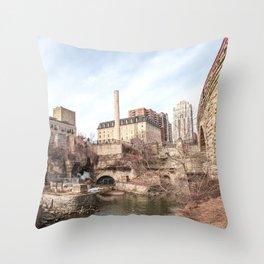 Minneapolis Minnesota Stone Arch Bridge-Panoramic Photography Throw Pillow