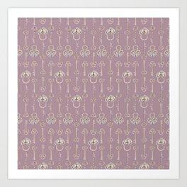 Purple mauve old padlocks and keys vintage style pattern Art Print