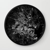 houston Wall Clocks featuring Houston map by Line Line Lines