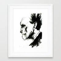 ezra koenig Framed Art Prints featuring EZRA POUND by Dylan Burt