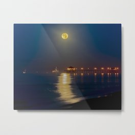 Huntington Beach Pier Moonset  12/6/14 Metal Print