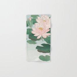 Water Lilies - Japanese vintage woodblock print Hand & Bath Towel