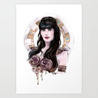 xena Art Prints featuring Xena Warrior Princess art by carlations: Carla Wyzgala illustrations