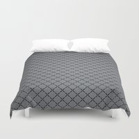 gray pattern Duvet Covers featuring Gray Plastic Chip Pattern by Robin Curtiss