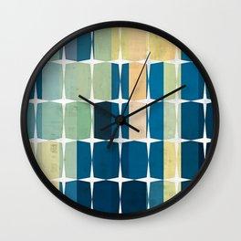Diamond Squares - Blue Aqua Yellow Wall Clock