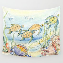 Sea Turtles, Coral and Kelp Wall Tapestry