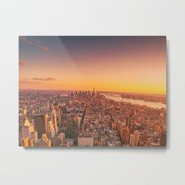 New York City Sunset Skyline Metal Print