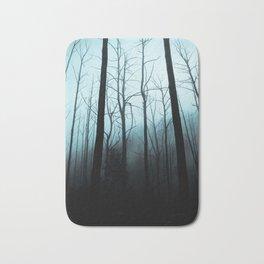 Scary Haunting Halloween Dark Forest Barren Trees Blue Background Bath Mat