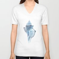 shell V-neck T-shirts featuring shell by Eazy Verdeacqua