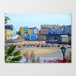 Tenby Harbour.Colour.Reflection. Canvas Print