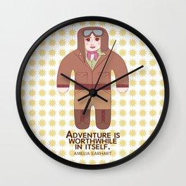 Amelia Earhart Illustration Wall Clock